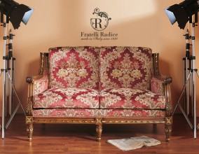 Louis XVI Style 2 seater sofa walnut polished with gold leaf