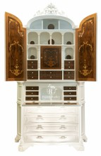 2 doors tromeau white lacquered with inlay ( Fratelli Radice )