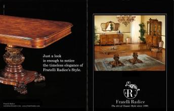 Sala da pranzo Stile Regency radica di frassino olivao, lucida noce