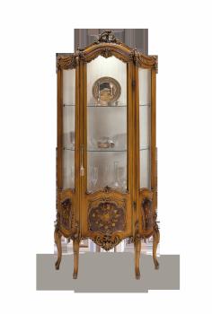 витрина в стиле барокко лакированная в цвет дерева с инкрустацией
