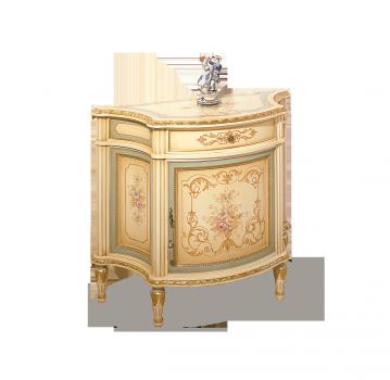 однодверный комод с ящиком, цвета слоновой кости с золотом, ручной росписью и лазурной прокраской по бортам